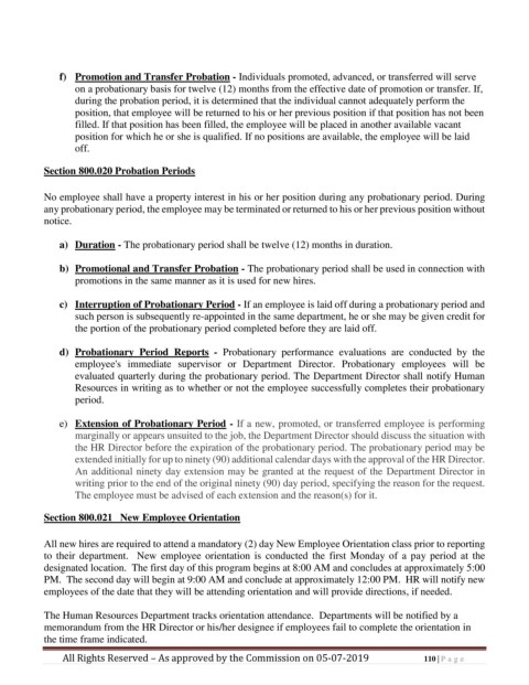 Page 110 Personnel Policy And Procedures Manual